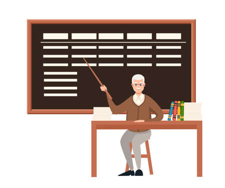 Senior teacher, professor sits by the table. Pointer with blackboard. Books and list on wooden table. Cartoon character design. Flat vector illustration isolated on white background.