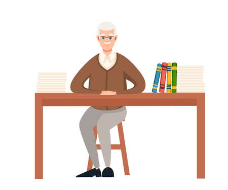 Senior teacher, professor sits by the table. Books and list on wooden table. Cartoon character design. Flat vector illustration isolated on white background.