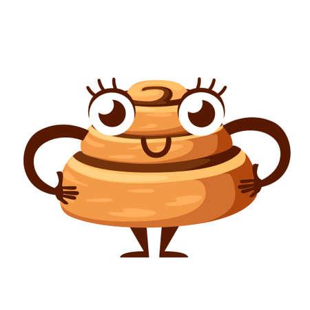 Maskottchen-Brötchen mit Zimt. Frisch gebackener süßer Kuchen. Gebackenes Gebäckstück. Cartoon-Charakter-Design. Flache Vektorillustration lokalisiert auf weißem Hintergrund.