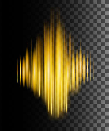 Abstract effect sound wave. Golden color effect. Spectrum audio wave. Vector illustration on transparent background.