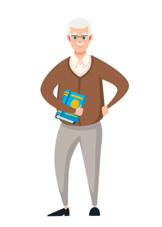 Senior teacher, professor standing in front, and hold the book. Cartoon character design. Flat vector illustration isolated on white background.