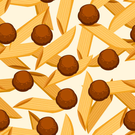 Italian food pasta penne with meatballs. Seamless pattern. Flat vector illustration on white background. Web site page and mobile app design. Vektorgrafik