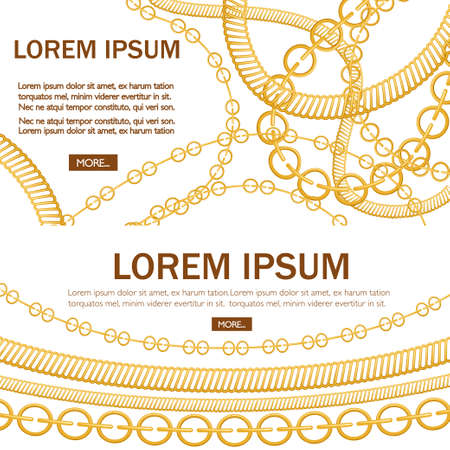 Pattern with golden chains. Place for text. Different types of chains,luxury decoration. Concept for greetings card or advertising flyer. Flat vector illustration on white background.