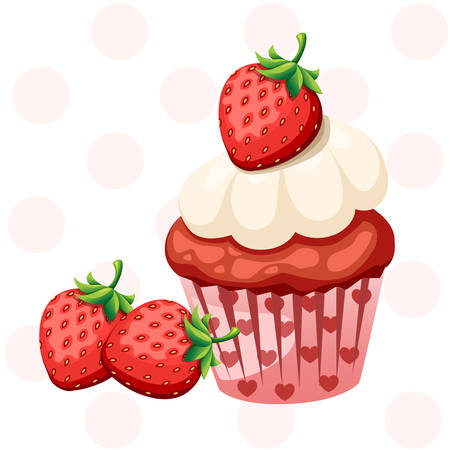 Sweet strawberry cupcake with white cream. Colorful dessert. Flat vector illustration isolated on white background. Illustration