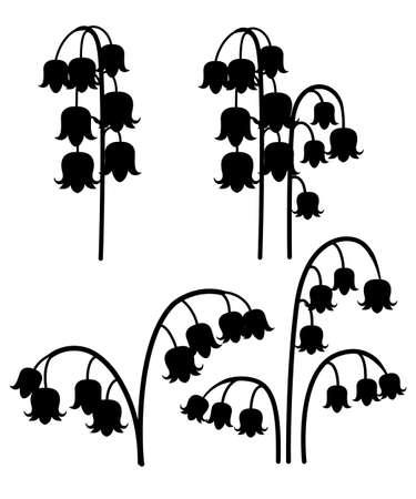 Convallaria majalis. Maiglöckchen. Bunte Blume im mittleren Frühling. Flache Vektorillustration lokalisiert auf weißem Hintergrund. Blumen eingestellt.