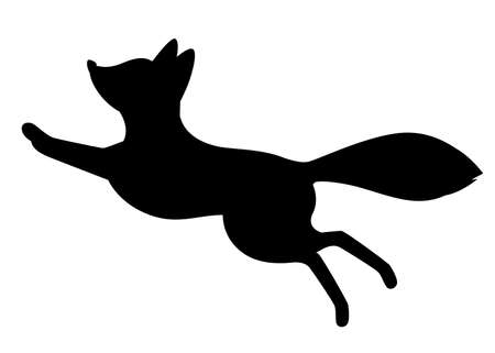 Black silhouette. Cute red fox jumping. Cartoon animal character design. Forest animal. Flat vector illustration isolated on white background. Vectores