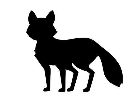 Black silhouette. Cute red fox is standing on four legs. Cartoon animal character design. Forest animal. Flat vector illustration isolated on white background.