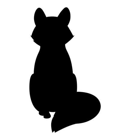Black silhouette. Cute red fox sitting. Cartoon animal character design. Forest animal. Flat vector illustration isolated on white background.