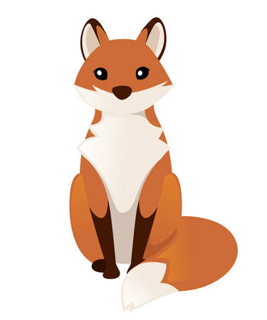 Cute red fox sitting. Cartoon animal character design. Forest animal. Flat vector illustration isolated on white background.
