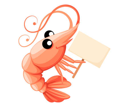 Cute shrimp holding sign. Cartoon animal character design. Swimming crustaceans. Flat vector illustration isolated on white background.