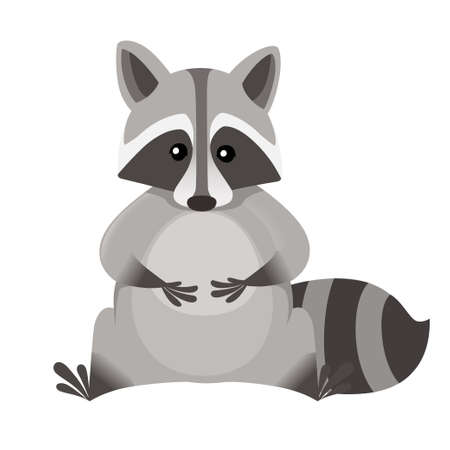 Cute cartoon raccoon sitting in front. Cartoon animal character design. Flat vector illustration isolated on white background.