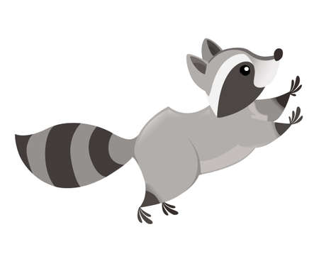 Cute cartoon raccoon jumping, side view. Cartoon animal character design. Flat vector illustration isolated on white background. Illustration