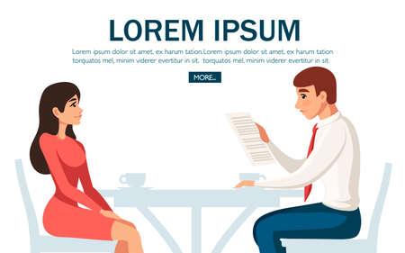 Geschäftstreffen im Café. Zwei Menschen treffen sich, sitzen auf einem Stuhl am Tisch. Cartoon-Charakter-Design. Flache Vektorillustration auf weißem Hintergrund. Website- und mobile App-Design.