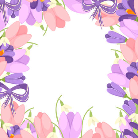 A bouquet of flowers with a purple ribbon. Spring pink Tulip, purple Crocus and white Convallaria majalis. Green flower pattern, grass. Flat vector illustration on white background.