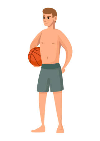 Men wear green swimsuit and hold basketball ball. Beach shorts. Cartoon character design. Flat vector illustration isolated on white background.