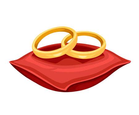 Anneaux de mariage dorés sur coussin de velours rouge. Bijoux en or. Illustration vectorielle plane isolée sur fond blanc. Vecteurs
