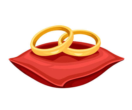 Golden weddings rings on red velvet pillow. Golden jewelry. Flat vector illustration isolated on white background.