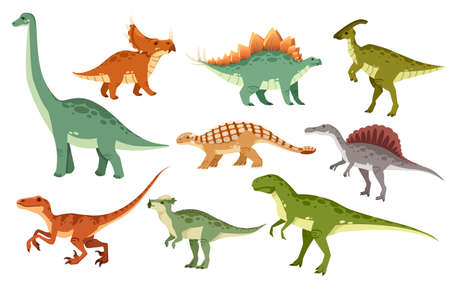 Cartoon dinosaur set. Cute dinosaurs icon collection. Colored predators and herbivores.