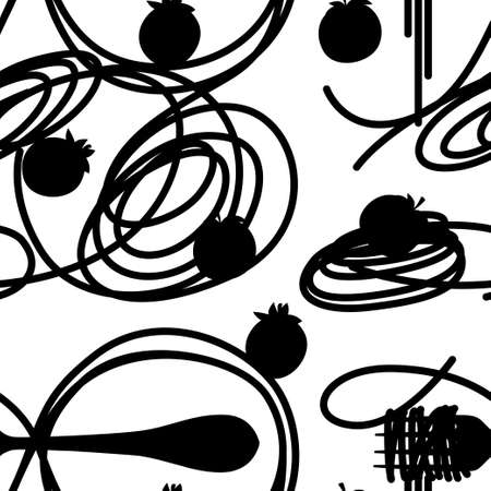 Black silhouette. Italian food pasta Spaghetti with tomatoes. Seamless pattern. Flat vector illustration on white background. Web site page and mobile app design. Stock Illustratie