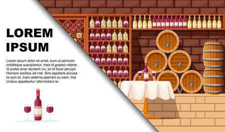 Wine cellar with shelves, barrels and table. Flat vector illustration. Flat vector illustration with place for text. Advertising flyer or greetings card design. Illustration