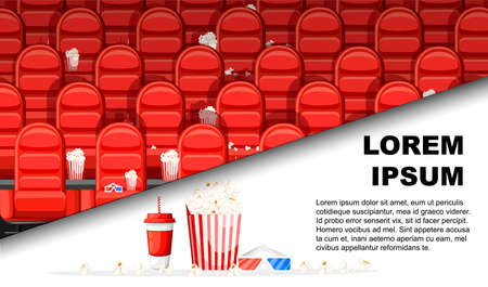 Cinema hall with red comfortable armchairs. Drinks and popcorn, glasses for movie. Flat vector illustration with place for text. Advertising flyer or greetings card design..