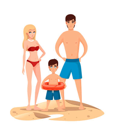 Young family on the beach. People stands on sand.