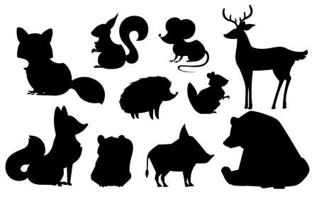 Black silhouette animal icon collection.
