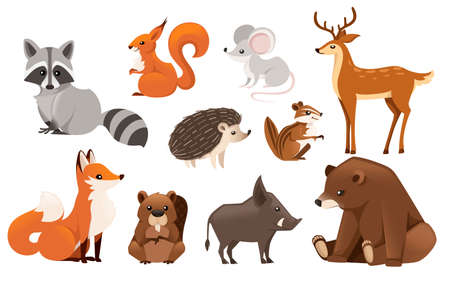 Colored animal icon collection.