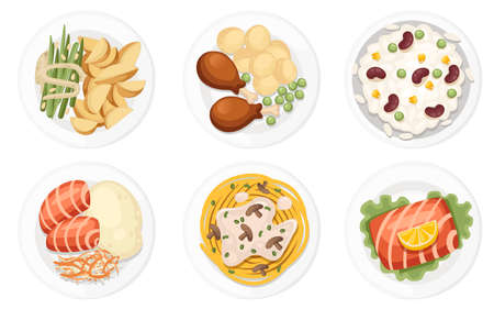 Different dishes on the plates. Traditional food from around the world. Icons for menu logos and labels. Flat vector illustration isolated on white background. Ilustração
