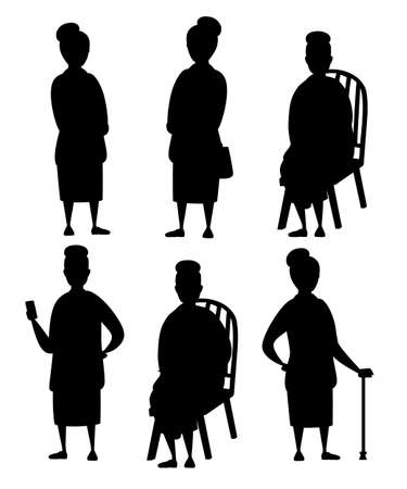 Black silhouette. Set of Senior Woman in casual clothes. Old women in different situations. Grandmother standing. Cartoon character design. Flat vector illustration isolated on white background. Illusztráció
