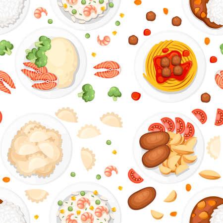 Nahtloses Muster. Verschiedene Gerichte auf den Tellern. Traditionelles Essen aus aller Welt. Symbole für Menülogos und Etiketten. Flache Vektorillustration auf weißem Hintergrund.
