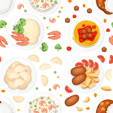Seamless pattern. Different dishes on the plates. Traditional food from around the world. Icons for menu logos and labels. Flat vector illustration on white background.