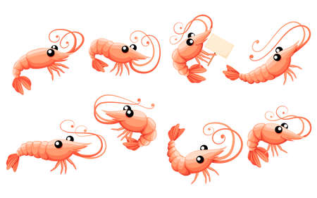 Cute shrimp set. Cartoon animal character design. Swimming crustaceans icon collection.