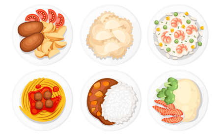 Different dishes on the plates. Traditional food from around the world. Icons for menu logos and labels. Flat vector illustration isolated on white background.