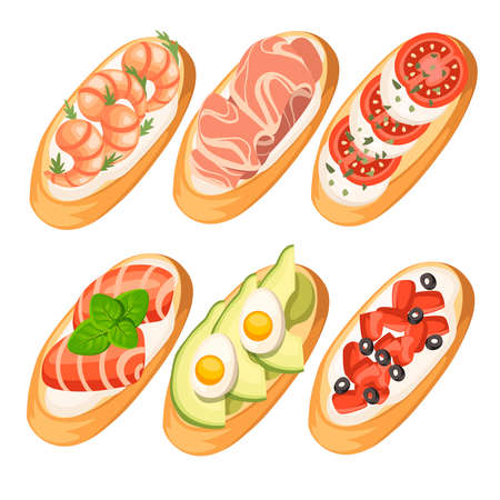 Set of Bruschetta with different ingredients - salmon, tomatoes, shrimps, meat, parmesan. Classic Italian food, delicious appetizer. Flat vector illustration isolated on white background.