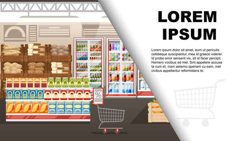 Supermarket illustration. Store interior with goods. Big shopping mall. Shelves, fridge, and carts. Wooden boxes with vegetables. Vector illustration. Advertising flyer or greetings card design.