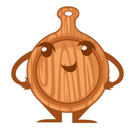 Wooden round cutting board. Kitchen utensil mascot.