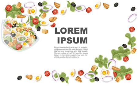 Vegetables salad recipe. Caesar salad fall to transparent bowl. Fresh vegetables cartoon icon design food. Flat vector illustration on white background. Advertising flyer or greetings card design.