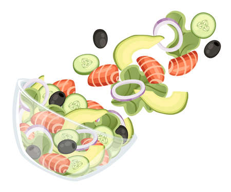 Vegetables salad recipe. Seafood salad fall to transparent bowl. Fresh vegetables cartoon icon design food. Flat vector illustration isolated on white background.