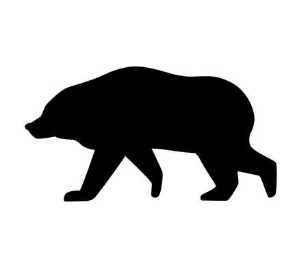 Black silhouette. Grizzly bear.
