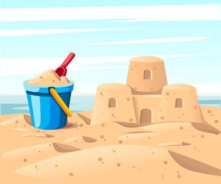 Eenvoudig zandkasteel met blauwe emmer en rode schop.