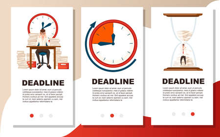 Man overwork in office. Cartoon character design. Worked overtime, tired office worker. Flat vector illustration. Three web card template. Advertising flyer or greetings card design.