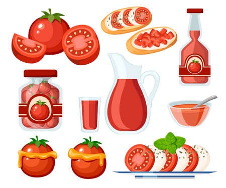 Collection of tomato products and dishes. Fresh and Cooked Tomatoes.