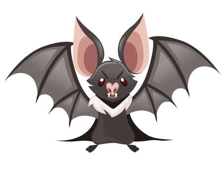 Cartoon-Fledermaus. Nette Vampirfledermaus, fliegendes Säugetier. Flache Vektorillustration lokalisiert auf weißem Hintergrund. Cartoon-Charakter-Design. Wütende Fledermaus-Emotion.
