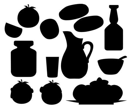 Black silhouette. Collection of tomato products and dishes.