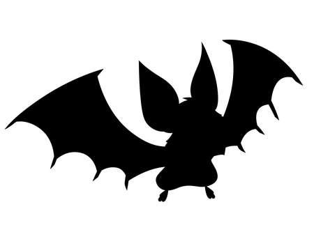 Black silhouette. Cartoon bat. Cute vampire bat, flying mammal.