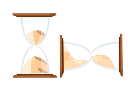 Hourglasses colored icon. Flat vector illustration isolated on white background. Antique time measurement. Transparent glass. Vertical and horizontal hourglasses.