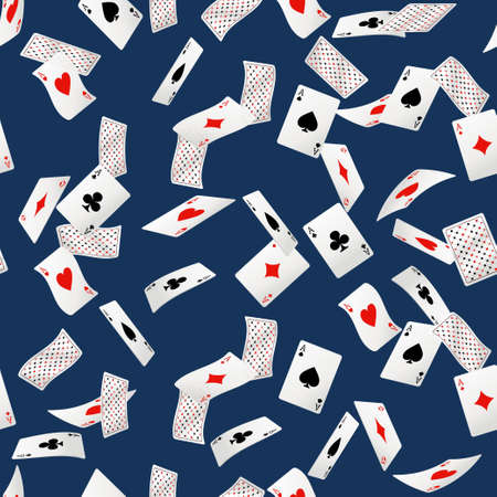 Seamless pattern of playing cards falling in various positions