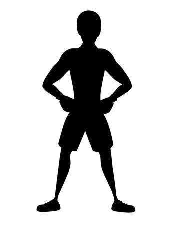 Black silhouette Boxer in sports pants with boxing gloves stand on training cartoon character design