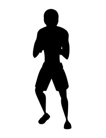 Black silhouette Boxer in sports pants with boxing gloves stand in defensive stance on training cartoon character design
